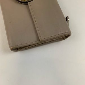 Coach Bags - Coach Trifold Button Shut Beige Tan Leather Wallet